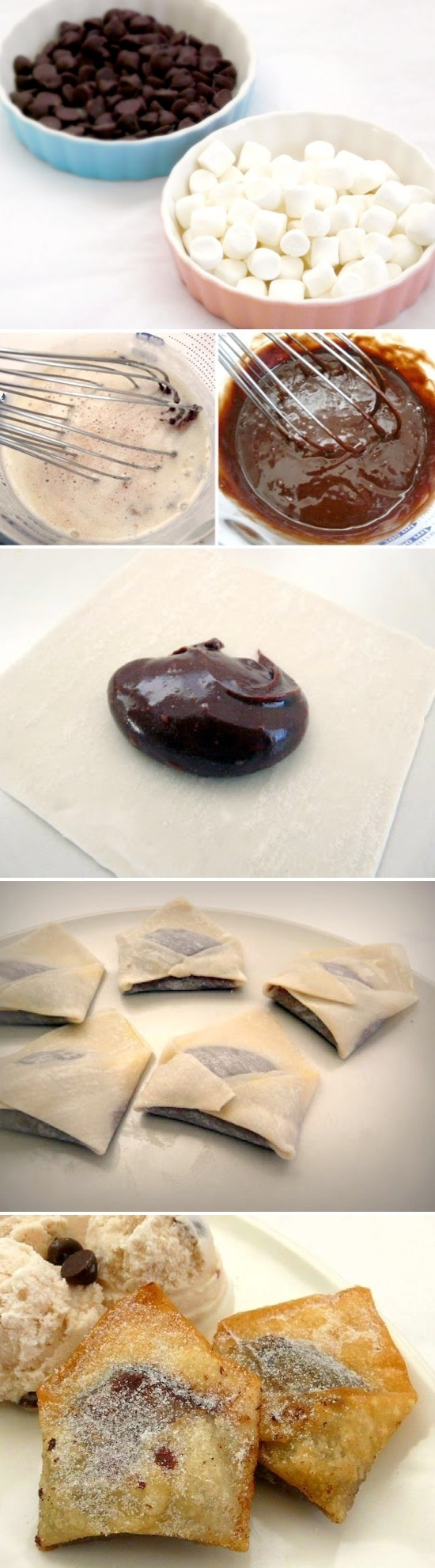 Chocolate Marshmallow Wontons Recipe